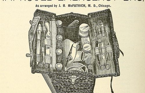 An old school Doctors bag with all of the doctor tools