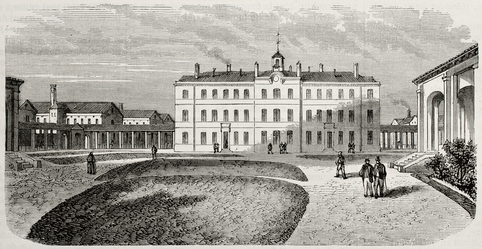 Antique illustration of the main building of psychiatric hospital Saint Anne, Paris.