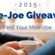 A person holding a cup of coffee with title - Moe Joe Giveaway