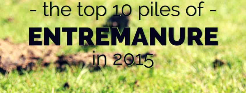 A field full of manure with title - Top 10 Piles Of Entremanure