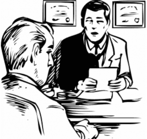Drawing of two men in business attire. One is holding papers with certifications hanging on the wall in the background. The two men seem to be conduction an interview.