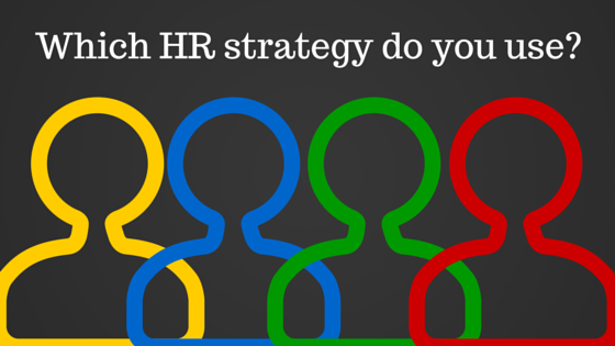 Four drawings of people, all different colors, title - Which HR strategy do you use?