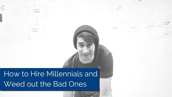Millennial staring into the camera with a hat on. Title - How to hire millennials and week out the bad ones