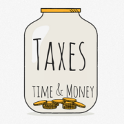 Drawing of a large jar with a few coins at the bottom. Title - Taxes: time and money