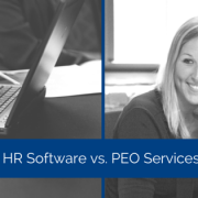 Two images, first is a person typing on a laptop, the second image is of a smiling person on a phone. Title - HR software vs. PEO Services