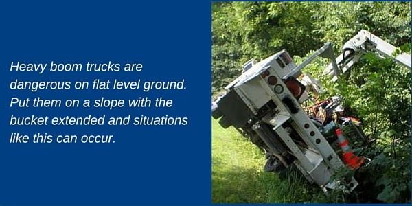 Heavy book trucks are dangerous on flat level ground. Put them on a slope with the bucket extended and situations like this occur. The truck has tipped into some bushes.