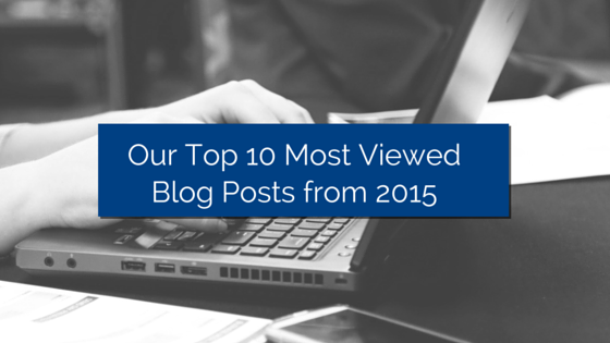 Laptop with hands typing on it and title - Our Top 10 Viewed Blog Posts from 2015