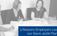 Three women sitting at a desk writing while laughing and title - 5 Reasons Employers Love our Slavic 401(k) Plans