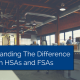 Office room with desks and chairs and title - Difference Between HSA And FSA