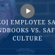 transparent blue color over a screenshot of a video, shows man with employers resource logo on shirt, image text says video, employee safety handbooks versus safety culture