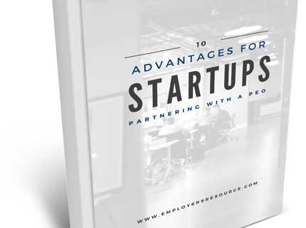 Book with 10 Advantages For Startups Partnering With A Peo on cover