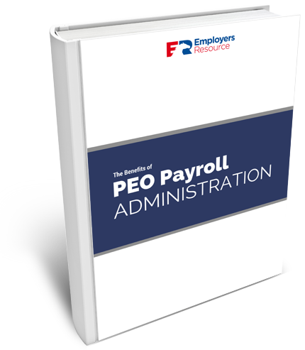 Book with The Benefits of PEO Payroll administration on cover