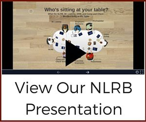 Image of the prezi with a play button and title - View our NLRB Presentation