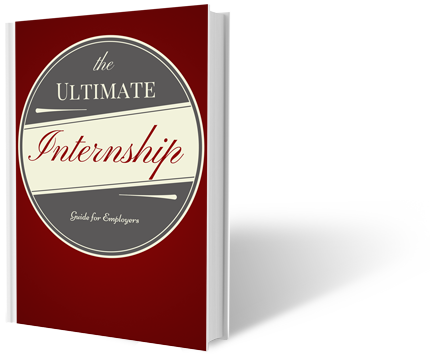 Image of a book with The Ultimate Internship Guide For Employers on cover.