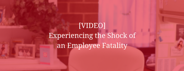 "image of office with desk, chair and miscellaneous items. Image has red filter over it with test saying, ""video, experiencing the shock of an employee fatality"""