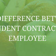 "Image of a bowl of fruit including apples, oranges, bananas. Image has a transparent green filter and text saying, ""The difference between independent contractor and employee"""