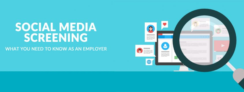 Magnifying glass with computer and text bubbles behind it with title - Social Media Screening What You Need To Know As An Employer